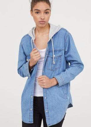 H&m трендовая рубашка-худи 38 euro, джинсовая oversize, швеция