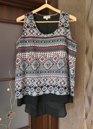 Распродажа шифоновая двойная блуза туника uk 16 наш 50