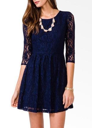 Гипюровое кружевное темно-синее платье xs-s