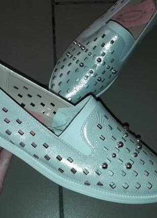 Мягкие балетки дышащие женские батал туфли лоферы
