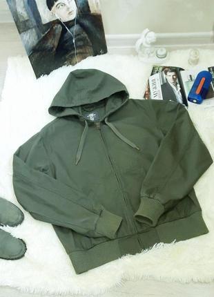 H&m  котоновая куртка цвет хаки2 фото