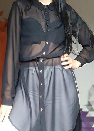 Удлиненная рубашка - блуза чёрная шифоновая.