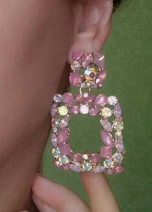 Серьги в стиле zara сережки розовые вечерние геометрия