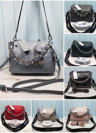 Женская кожаная сумка чёрная голубая розовая красная жіноча шкіряна чорна2 фото