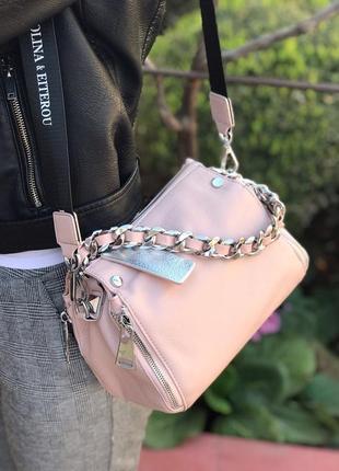 Женская кожаная сумка чёрная голубая розовая красная жіноча шкіряна чорна4 фото