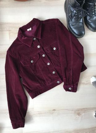 Куртка бархатная бардовая укороченная