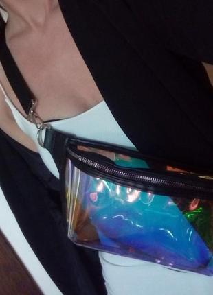 Новая прозрачная сумочка с голографическим эффектом