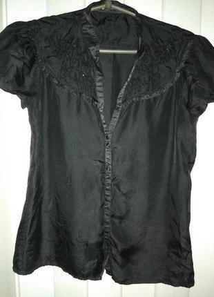 Красивая лёгкая блузка с вышивкой пайетками, натуральный шелк