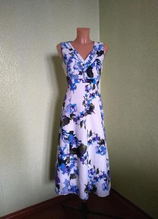 Шикарное платье миди в цветы 100% лён  per una