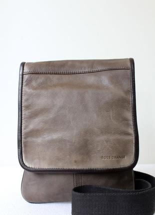 Мужская кожаная сумка boss orange оригинал, номерная.