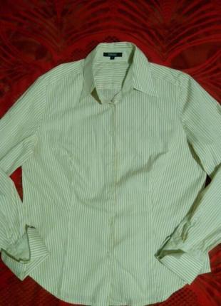 Стильная классическая рубашка в полоску, песочный и белый
