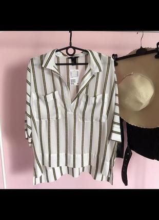 Распродажа!!! 🔥 шикарная свободная шифоновая блуза в полоску с карманами на груди.