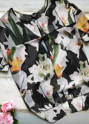 Шифоновая блуза топ в цветочный принт topshop