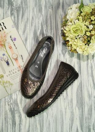 Gabor. кожа. стильные туфли на платформе с золотым напылением