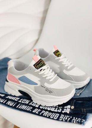 Стильные женские кроссовки на платформе кросы пудра