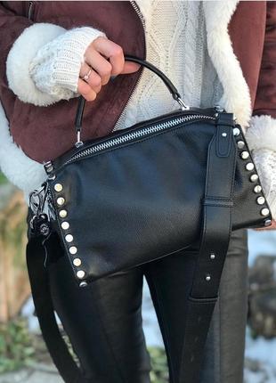 Женская кожаная сумка polina eiterou жіноча шкіряна черная чорна