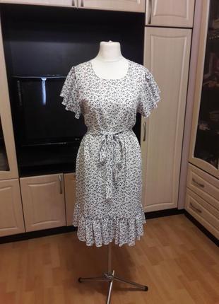 Льняное платье с воланами платье из льна