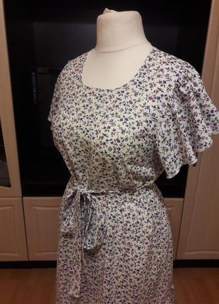 Льняное платье с воланами платье из льна3 фото