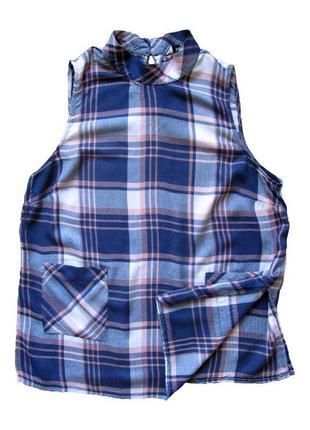 Papaya matalan тонкая фланелевая рубашка клетка синяя удлиненная без рукавов