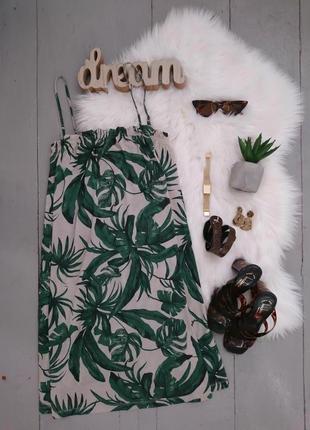 Актуальный летний сарафан платье туника на бретелях в тропический принт h&m