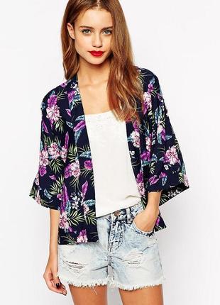 Легкая накидка кимоно блуза с цветочным принтом