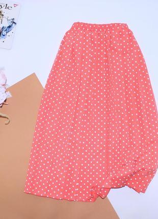 Приятная юбка миди гофре в горошек большого размера