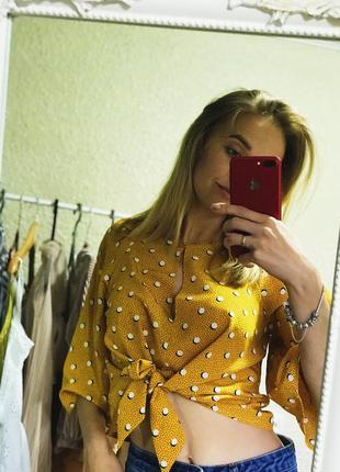 Красивый топ - блуза в принт, на завязках