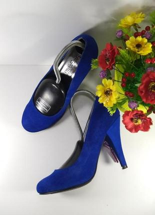 🌈замшевые синие туфли на каблуке4 фото