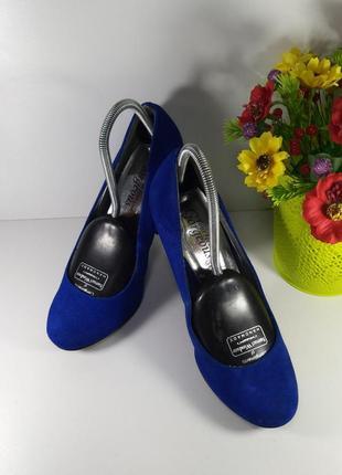 🌈замшевые синие туфли на каблуке3 фото