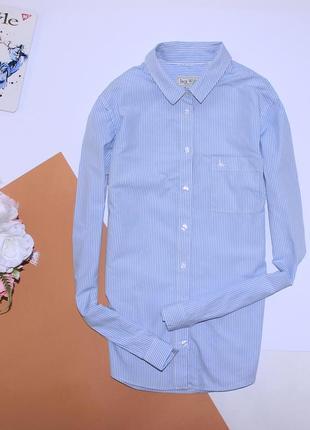 Базовая голубая рубашка в полоску