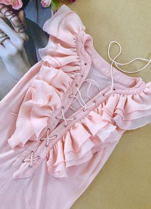 Блуза персиковая волан