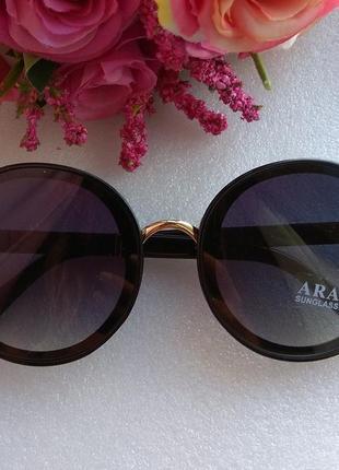 Новые крутые круглые очки с блеском на дужках, черные