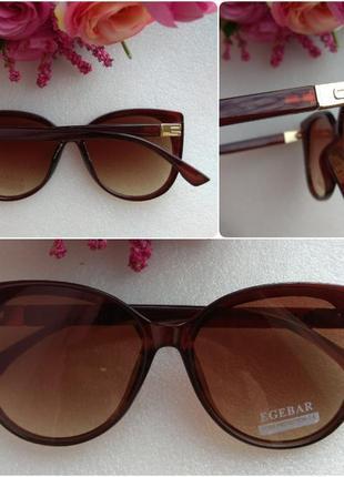 Новые модные очки бабочки с блеском по бокам, коричневые
