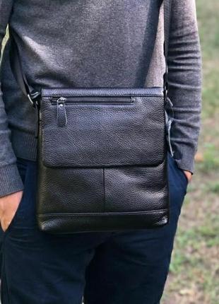 Кожаная мужская сумка на плечо чоловіча сумка із натуральної шкіри