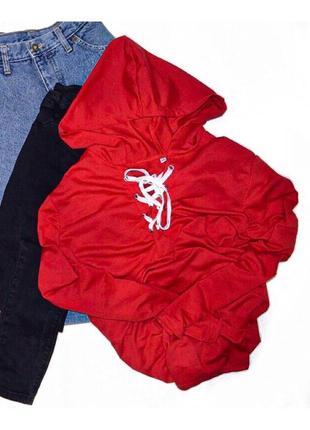 Ярко красный худи на шнуровке xxl-xxxl