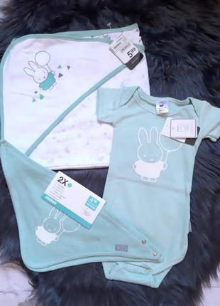 Набор для новорождённого, бодик, слюнявчик, махровая пеленка-полотенце