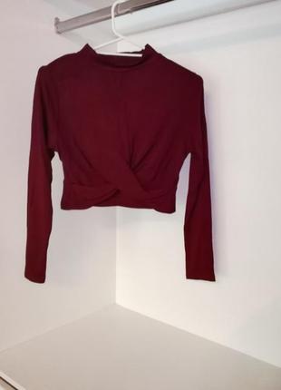 Topshop укороченная кофточка с длинным рукавом, цвет марсала, бордовый