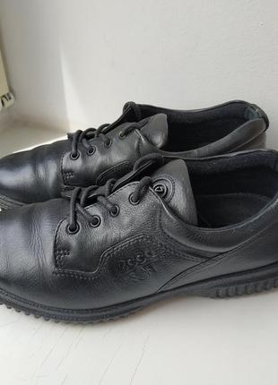 Кожаные туфли мокасины ecco soft 37р. 24 см.