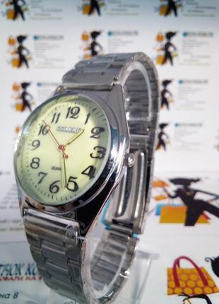 Мужские наручные часы goldlis на браслете светящийся циферблат