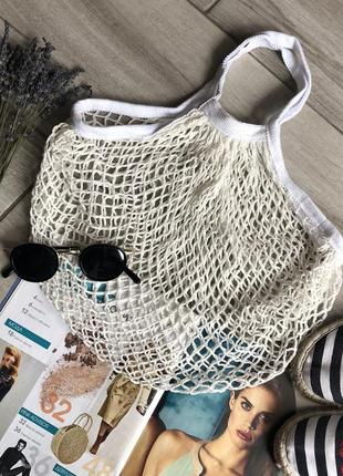 Новая белая авоська эко сумка шоппер сетка