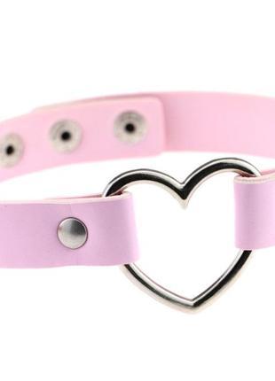 Розовый чокер сердце