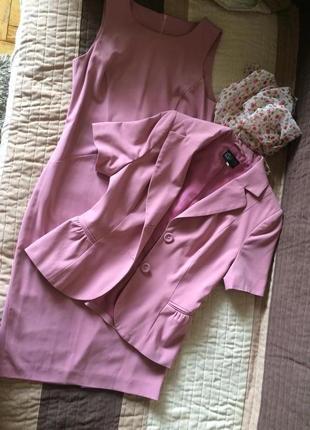 Костюм женский розовый платье+ жакет s-m