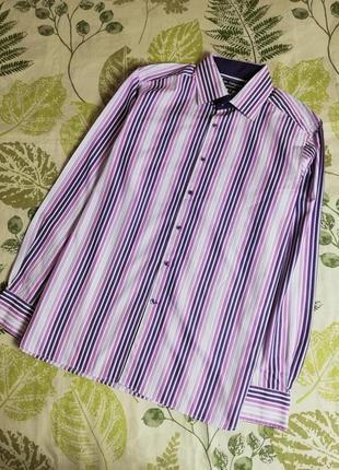 Фирменная шикарная рубашка в полоску autograph 100% коттон