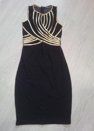 Черное вечернее миди платье