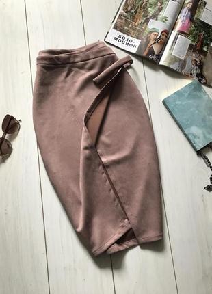 Пудровая юбка на запах под замш