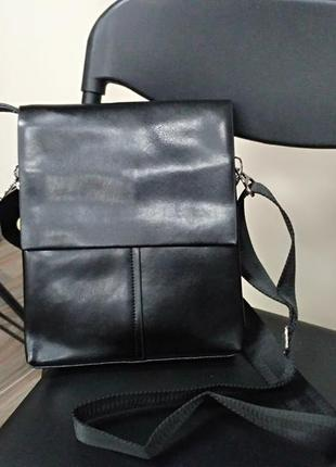 Мужская кожаная сумка-планшет черная (топ продаж)
