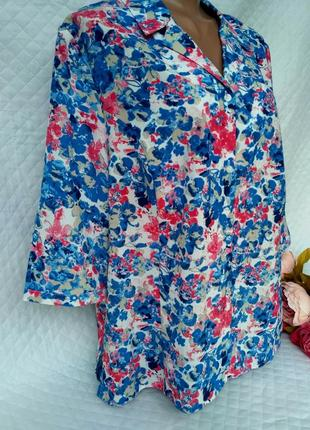 Красивая летняя рубашка в цветы размер 20 (52-56)