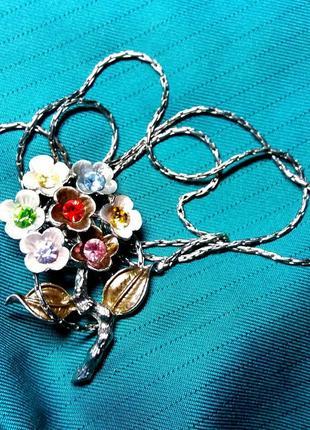 "Бижутерия кулон цветок на цепочке ""семицветик"""