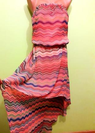 Летнее шифоновое платье со шлейфом