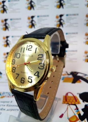 Мужские наручные часы goldlis на ремешке светящиеся стрелки